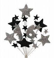 Number age 16th birthday cake topper decoration in silver and black - free postage